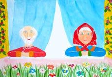 Retrato de uns sêniores felizes e saudáveis das avós com cabelo cinzento e a roupa brilhante que sentam-se na casa fora da jan ilustração do vetor