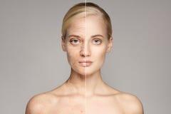 Retrato de velho e da jovem mulher Conceito do envelhecimento fotografia de stock royalty free