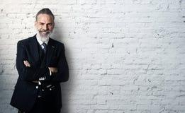 Retrato de vestir farpado do homem de negócios na moda fotos de stock royalty free