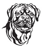 Retrato decorativo da ilustração do vetor de Cão Dogue de Bordéus ilustração do vetor