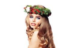 Retrato del Año Nuevo de la mujer hermosa de la moda Imagen de archivo