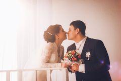 Retrato del abarcamiento caucásico del novio y de la novia Fotografía de archivo libre de regalías