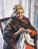 Retrato del aceite de una abuela que cose Imagen de archivo