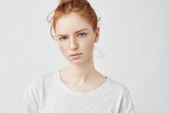 Retrato del adolescente blando joven del pelirrojo con el top del gris de la piel que lleva pecosa sana que mira la cámara con se Imagenes de archivo