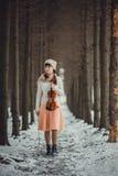 Retrato del adolescente con el violín Imágenes de archivo libres de regalías