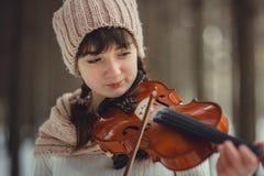 Retrato del adolescente con el violín Imagen de archivo