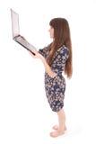 Retrato del adolescente del estudiante con el ordenador portátil Fotografía de archivo libre de regalías
