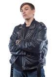 Retrato del adolescente en la chaqueta de cuero Imagen de archivo