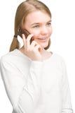 Retrato del adolescente feliz con el teléfono celular Fotografía de archivo libre de regalías