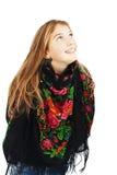 Retrato del adolescente feliz de la muchacha que mira para arriba. Fotografía de archivo libre de regalías