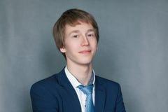Retrato del adolescente feliz del colegial Fotografía de archivo