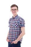Retrato del adolescente hermoso aislado en blanco Imagenes de archivo