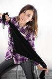 Adolescente hermoso con la bufanda negra Imagen de archivo libre de regalías