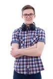 Retrato del adolescente hermoso con los auriculares aislados en whi Foto de archivo libre de regalías