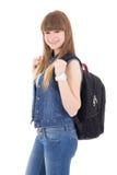 Retrato del adolescente lindo con la mochila aislada en blanco Foto de archivo