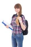 Retrato del adolescente lindo con la mochila aislada en blanco Fotografía de archivo libre de regalías