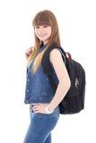 Retrato del adolescente lindo con la presentación de la mochila aislado en w Fotos de archivo