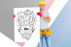 Retrato del arquitecto que sostiene la cartelera con los diversos iconos contra fondo coloreado Imagen de archivo libre de regalías