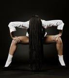 Retrato del arte de la mujer con los dreadlocks negros largos Fotos de archivo