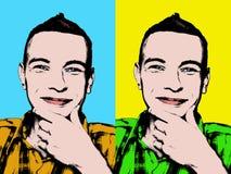 Retrato del arte pop de un hombre joven sonriente stock de ilustración