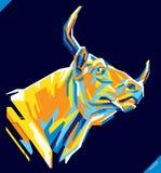 Retrato del arte pop del toro hermoso Ilustración del vector Fotos de archivo