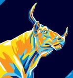 Retrato del arte pop del toro hermoso Ilustración del vector Imagenes de archivo