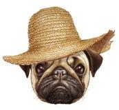 Retrato del barro amasado con el sombrero de paja Fotos de archivo