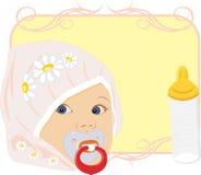 Retrato del bebé con la botella para la leche. Tarjeta Imagen de archivo libre de regalías