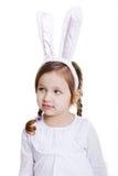 Retrato del bebé con los oídos del conejito Imagenes de archivo
