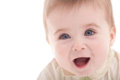 Retrato del bebé alegre de los azul-ojos Imagenes de archivo