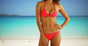 Retrato del bikini que lleva de la mujer negra en una playa del Caribe soleada Fotografía de archivo libre de regalías