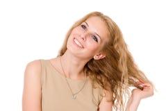 Retrato del blonde feliz con el pelo largo Imagen de archivo libre de regalías