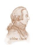 Retrato del bosquejo del estilo del grabado de Adán Smith Fotografía de archivo libre de regalías