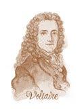 Retrato del bosquejo del estilo del grabado de Voltaire Fotos de archivo libres de regalías