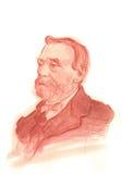 Retrato del bosquejo del Watercolour de Alfred Nobel stock de ilustración