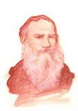 Retrato del bosquejo del Watercolour de León Tolstói Foto de archivo libre de regalías