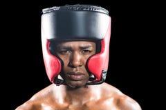 Retrato del boxeador con el casco Imágenes de archivo libres de regalías