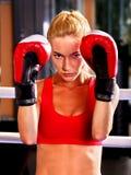 Retrato del boxeo de la muchacha del deporte Imágenes de archivo libres de regalías