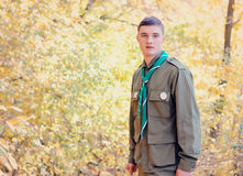 Retrato del boy scout en bosque en Sunny Day Foto de archivo