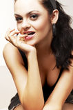 Retrato del brunette hermoso Imagen de archivo libre de regalías