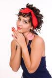 Retrato del brunette hermoso con el pelo rizado y Fotos de archivo libres de regalías
