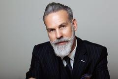 Retrato del caballero barbudo atractivo que lleva el traje de moda sobre fondo gris vacío Tiro del estudio, concepto de la moda Imagen de archivo libre de regalías