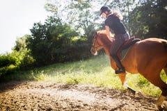 Retrato del caballo de montar a caballo de la mujer joven en campo Imágenes de archivo libres de regalías