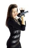 Retrato del cantante de roca de sexo femenino con el micrófono Fotos de archivo libres de regalías
