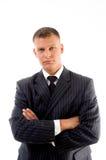 Retrato del CEO joven con los brazos cruzados Foto de archivo libre de regalías