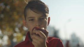 Retrato del cierre de la manzana de la consumición del niño pequeño para arriba El niño goza de la fruta en el parque almacen de metraje de vídeo