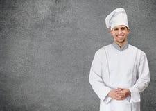 Retrato del cocinero del cocinero, aislado en gris Fotos de archivo