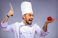 Retrato del cocinero hermoso joven Fotos de archivo libres de regalías