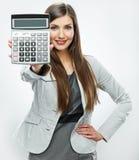 Retrato del contable de mujer Mujer de negocios joven backgrou blanco Imágenes de archivo libres de regalías