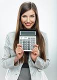 Retrato del contable de mujer Mujer de negocios joven backgrou blanco Foto de archivo libre de regalías